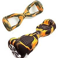 Carcasa de silicona para patinete eléctrico inteligente de equilibrio de 2 ruedas de 16.5 cm (6.5 pulgadas) Hover board, Black+Yellow …