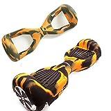 Carcasa de silicona para patinete eléctrico inteligente de equilibrio de 2 ruedas de 16.5 cm (6.5 pulgadas) Hover board, Black+Yellow ...