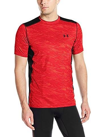 2016 Under Armour Mens Heatgear Raid Short Sleeve Training T-Shirt Rocket Red/Black Large