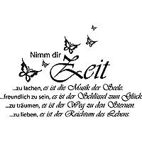 Wandtattoo-Wandaufkleber - Spruch ***Nimm Dir Zeit,..*** (inkl. Schmetterlingset) Größen u. Farbauswahl