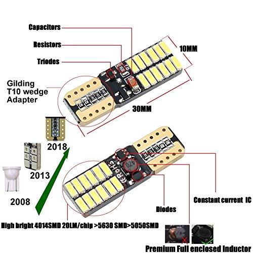 Fastcar 100KFZ LED Canbus t10W5W Leuchtmittel 24LEDs 4014smd für Clearance Licht Leselicht Tür Licht 6000K reines Weiß 350LM DC12V