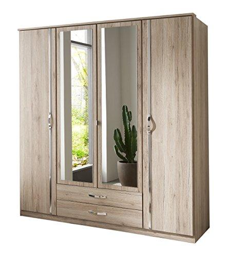 Wimex 064453 Kleiderschrank 4-türig mit zwei Schubkästen und Spiegeltüren, San Remo Eiche Nachbildung Aufleistung, chrom