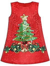 Sunny Fashion Vestido para niña Una línea Navidad Árbol Navidad Lentejuela Espumoso fiesta Fiesta 3-10 años