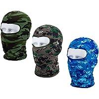Bllomsem 3Pcs Máscara Pasamontañas Protector para Ciclismo Esqui Deporte,Balaclava Moto (Camuflaje Azul/Gris / Verde)