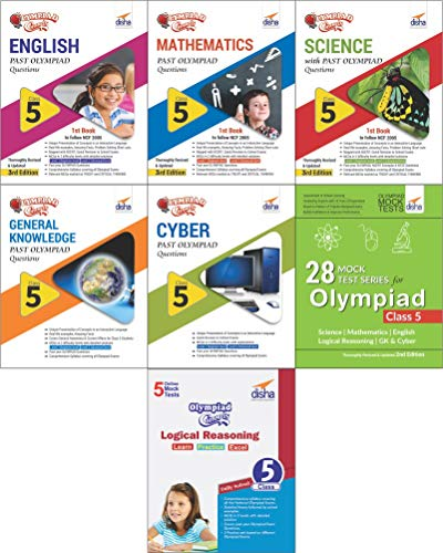 Olympiad Champs Science, Mathematics, English, Logical Reasoning, Cyber & GK Class 5 with 28 Mock Tests (Set of 7 Books)