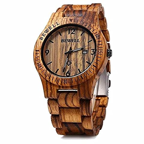 Bewell ZS-W086B Wooden Watches Men Quartz Wrist Watch Day Date Watch (Brown)