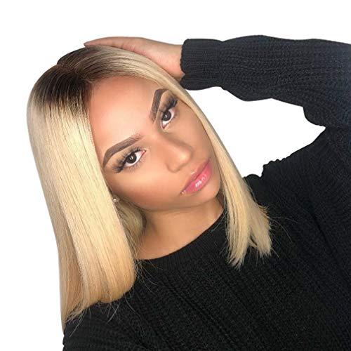 Perücke Bob Wig Black to Blonde 613 Human Hair Perücke Echthaar Blonde Middle Part Ombre Blond Brasilianische Haare Glatt Bleach Blonde Human Hair Wigs 14 zoll -