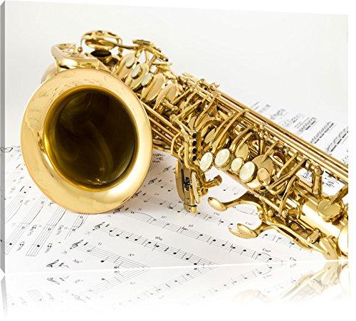 Saxophon auf Notenpapier, Format: 120x80 auf Leinwand, XXL riesige Bilder fertig gerahmt mit Keilrahmen, Kunstdruck auf Wandbild mit Rahmen, günstiger als Gemälde oder Ölbild, kein Poster oder Plakat