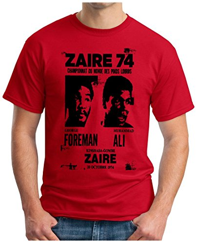 OM3 - ZAIRE74-FOREMAN-vs-ALI - T-Shirt - Rumble In The Jungle Afrika Africa Heavyweight Boxing Fight Champion, S - 5XL Rot