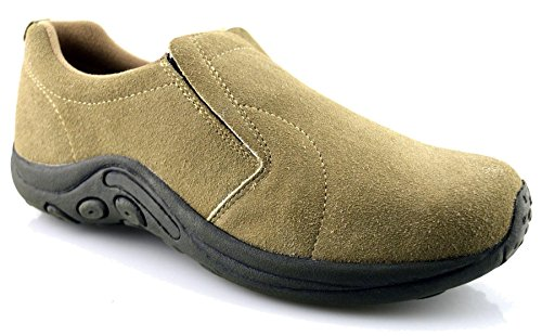 4a6442cc503636 Mens Leather Suede Jungle Moc Hiking Walking Slip On Trainers Casual Shoes  Size - Taupe - UK 10