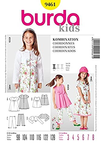 Burda Children's Patron de couture facile 9461 robe, Pantalon &-Veste courte : 3–8 ans