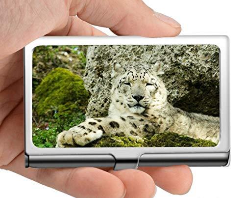 Professioneller Visitenkartenhalter, Raubtier-Zoo des Schneeleopard-Raubtiers Visitenkarten-Kasten, halten Ihre Visitenkarten sauber