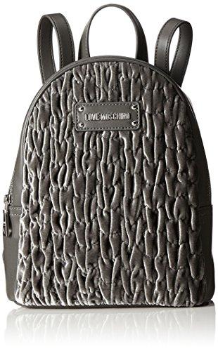Love Moschino - Borsa Fabric Grigio, Bolsos mochila Mujer, Grau (Grey), 28x22x10 cm (B x H T)