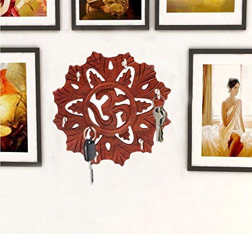 Porte-clés ronde en bois fait main Design Om, décoration murale suspendus porte-clé décoratif de 5,5 pouces., Jour de Pâques / fête des mères / bon cadeau du vendredi