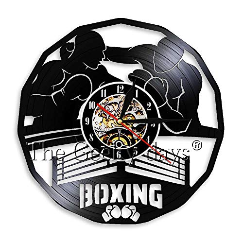 Wanduhren 1 Stück Boxen Pugilism Vinyl Uhren Pugilism Boxen Main Event 3D en Moderne Wandkunst Dekor Für Boxing Club
