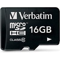 Verbatim Premium microSDHC Speicherkarte I 16 GB I SD Karte für Full-HD Videoaufnahmen I schwarze Speicherkarte…