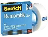 3M Scotch Ruban adhésif Amovible 811, 3/4x 1,296-inches, 2,5cm Core (811)...