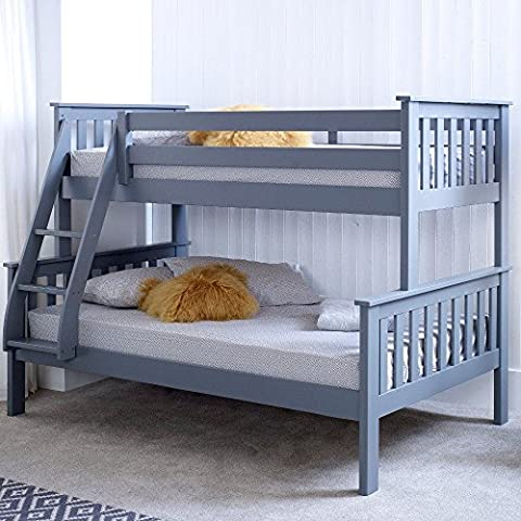 Happy Beds Atlantis Triple Sleeper Bunk Bed Grey Wooden Frame Only 3' Single 90 x 190 cm Top and 4' Small Double 120 x 190 cm