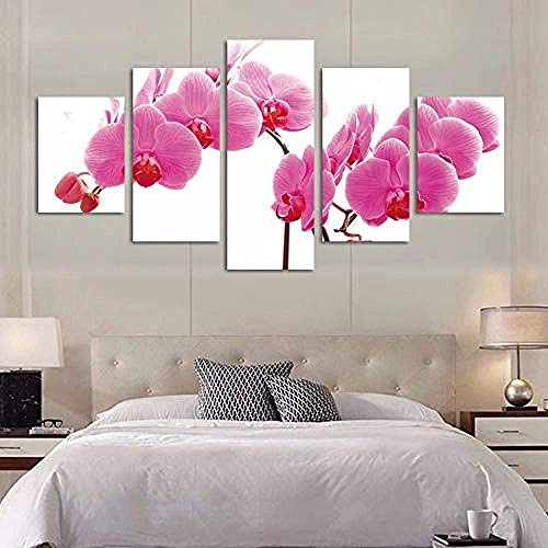 Mashanglaile Dekoration Gemälde Modulare Bild Kinderzimmer Poster 5 Panels Pfirsich Blume Moderne Rahmen Für Bilder Leinwand Wand Ungerahmt -