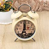 White Vintage Paris Table Clock Gifts Twin Bell Table Alarm Clock Table Decorative Centre Piece-Ideal Gift, Party, Home Décor, Living Room, Office.