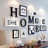 Cadre exquis, embellissement décorer votre maison!   Forme: Diamant   Numéro de cadre photo: 9   Catégorie Couleur: A: cadre (noir + blanc) / HOME (noir) / mon amour (blanc), B: cadre (noir) / HOME (noir) / mon amour (blanc), C: cadre (bleu + blan...