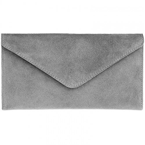 CASPAR TL708 Damen Wildleder Envelope Clutch, Farbe:hell grau;Größe:One Size