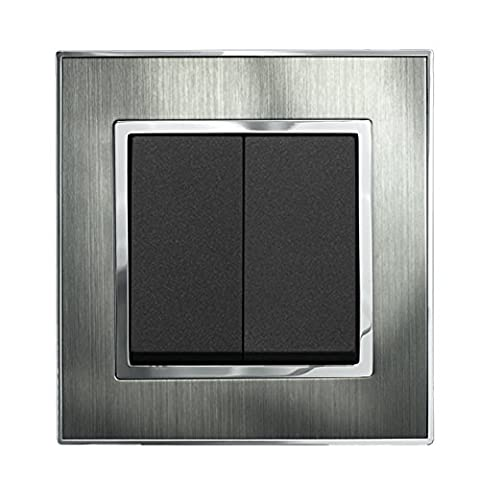 16AX 2-Gang Light Switch 2-Way Satin Stainless Metal