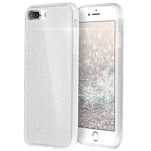iPhone 8 Plus Hülle Case, iPhone 7 Plus Hülle Case, [Unterstützt kabelloses Laden (Qi)] EasyAcc Glitzernde Schutzhülle Weiches TPU Bling-Bling Glitzer Stoßfest Glänzend Handyhülle Schutzhülle für iPhone 8 Plus / iPhone 7 Plus- Funkelndes Silber