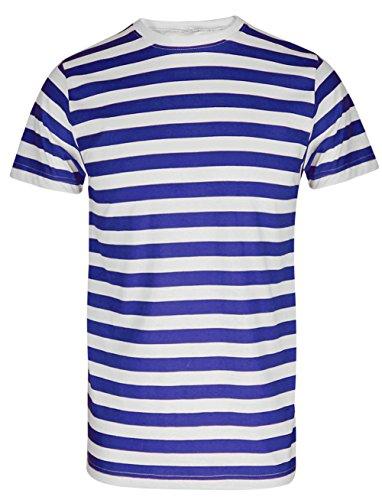 T-Shirt, für Herren und Jungen, rot und weiß gestreift Gr. Large, Blue/White Stripe T-Shirt -