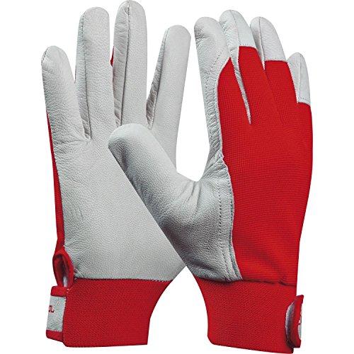 Arbeitshandschuh UNI FIT COMFORT | Größe 9 (L) | rot | Baustellenhandschuh aus Ziegen-Leder | 1 Paar