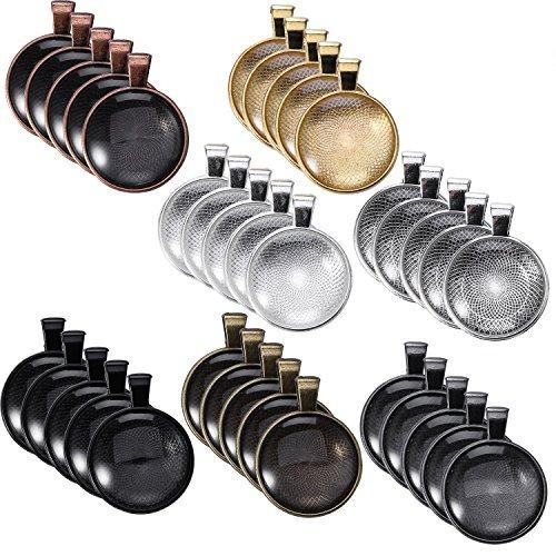 Glas Runder Anhänger (35Teile 7Farben Anhänger Tabletts rund Lünette, 35Stück Glas-Cabochon rund klar dome-25mm Durchmesser bunt)