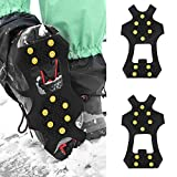 Miji 10 Teeth Universal Crampon Anti Slip Ice Cleats Shoe Boot Grips Traction Crampon Snow Spikes Grips Cleats Men Women Walking Jogging Hiking and Mountaineering(XL) (X-Large)