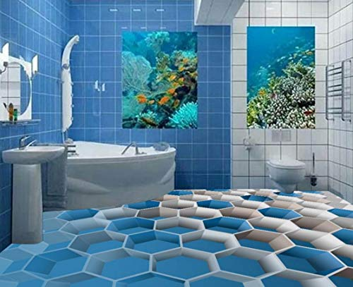 Yosot Tapete 3D Bodenfliesen Für Badezimmer Custom 3D Boden Malerei Blaue Box Selbstklebende 3D Pvc Bodenbelag Wasserdicht-250Cmx175Cm