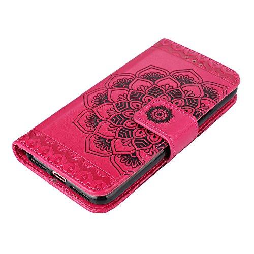 UKDANDANWEI iPhone 6 / 6s Handyhülle,Pu Leder Flip Wallet Schutzhülle Stand Case TPU Innen 2 Combo Separate Karteneinschub und Magnetverschluß Kratzfestes Hülle für iPhone 6 / 6s - Hotpink Hotpink