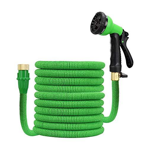 lujiaoshout Extensible tuyau d'arrosage jusqu'à 50 pieds Magic Garden Hose avec 8 Stretchable HOSEPIPE-modèle en laiton Buse de pulvérisation et Copepr Connecteurs - Vert norme européenne