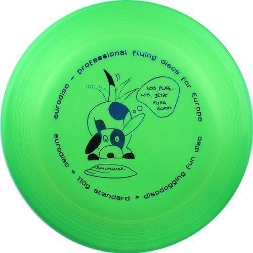 Eurodisc 110g Anerkannte Discdogging Scheibe für Hunde Frisbee, NEONGRÜN -