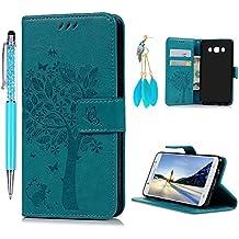 Funda para Samsung Galaxy J5 2016, Funda Libro de Cuero Impresión de Árbol,Flip Cover para Samsung Galaxy J5 2016(5.2 Pulgadas), Wallet Case con Soporte Plegable, Ranuras para Tarjetas y Billete (Funda Azul + Lápiz capacitivo + Enchufe anti del polvo)