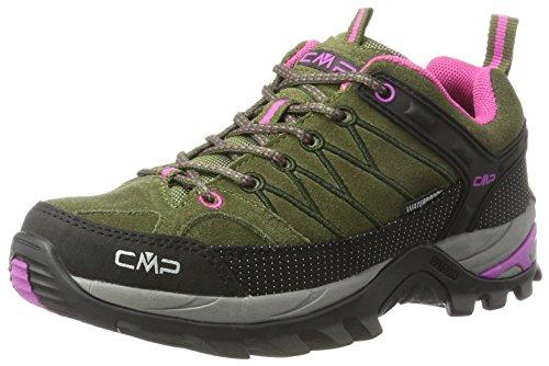 CMP Damen Rigel Low WP Trekking- & Wanderhalbschuhe, Grün (Olive-Hot Pink), 39 EU