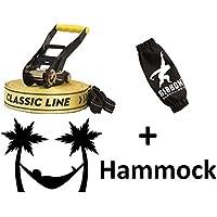 Gibbon Slackline 15m Classic X13 Set 50mm Tight Rope 13840 + Tukeke Hammock