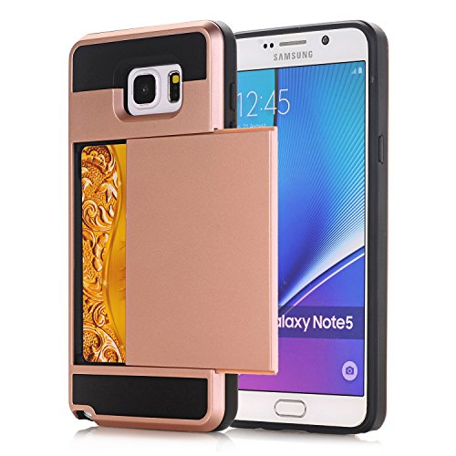 Galaxy Note4 Coque,EVERGREENBUYING [Slider Series] Ultra Slim léger 2 en 1 N9100 Cases [Porte coulissante semi-automatique][Housse de Protection] [Fente pour Carte] Cover Pour Samsung GALAXY Note 4 Ro Rose Or