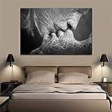 HIMFL Leinwand Wandkunst Schwarz und weiß Abstrakt Paar Adam und Eva Drucke auf Leinwand Moderne Giclee-Grafik Für Zuhause Wohnzimmer Schlafzimmer,B,60 * 100cm