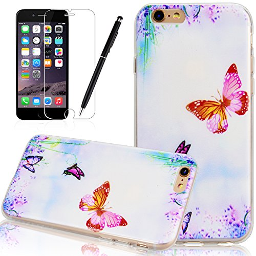 Custodia iPhone 6 / 6S, HB-Int 3 in 1 Ultra Slim Custodia Shell Custodia Morbida Case Flessibile TPU Gel Caso Ultra Sottile Leggera Copertura Shock-Absorption Anti Graffi Bumper Silicone Soft Cover Re Farfalle