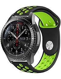 Gear S3 Bracelet, iBazal Gear S3 Frontier / Classic Watch Band 22mm Bracelet de Remplacement de Silicone Souple Sport Band pour Samsung Gear S3 Frontier / Classic [Série Sport] - Noir / Vert