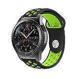 Gear S3 Bracelet, iBazal Gear S3 Frontier   Classic Watch Band 22mm Bracelet de Remplacement de Silicone Souple Sport Band pour Samsung Gear S3 Frontier   Classic [Série Sport] - Noir   Vert