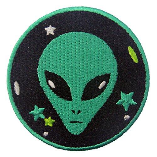 ZEGIN Aufnäher, bestickt, Design: Grünes Alien, zum Aufbügeln oder (Diy Alien Kostüm Mädchen)