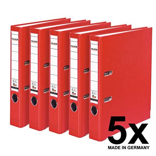 Falken PP-Color Kunststoff-Ordner 5 cm schmal DIN A4 rot 5er Pack Ringordner Aktenordner Briefordner Büroordner Plastikordner Schlitzordner