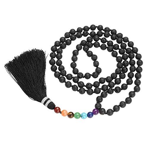 QGEM Schmuck 108 Perlen Edelstein Yoga Armband 7 Chakra stein Anhänger Buddha Buddhistische Tibetische Gebetskette Healing Reiki Mala Kette Halskette/8mm-Kugelsteine