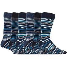 Giovanni Cassini - 6 pares calcetines hombre rayas colores moda traje marca tamaño 39-45 eur