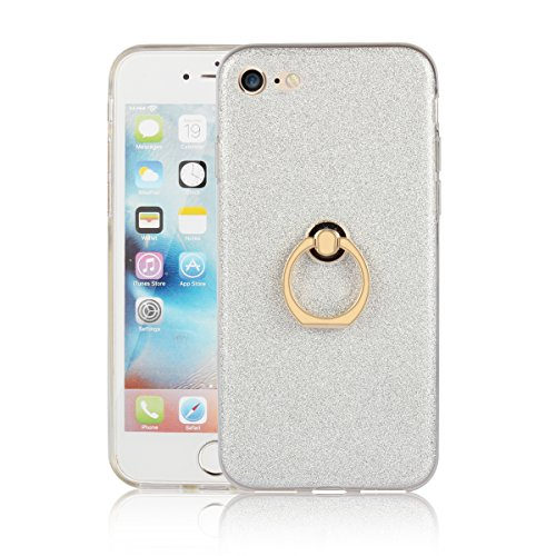 iPhone 7 Etui Coque, SHANGRUN 2 in 1 Scintillement Bling TPU Gel Silicone Etui Coque 360 Degres Rotating Métal Bague Ring Stand Holder Cover Coque avec Béquille Housse Étui pour iPhone 7 4.7 Inch(2016 Blanc