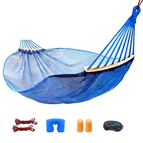 SSHHI Hängematte, verhindern Überschlag Holz EIS Seide Nylon Mesh Outdoor Strandbett Tragfähigkeit 250kg (Color : Blue, Size : 190 * 150CM) -